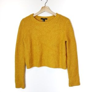 Mustard Yellow Cropped Knit Sweater Long Sleeve